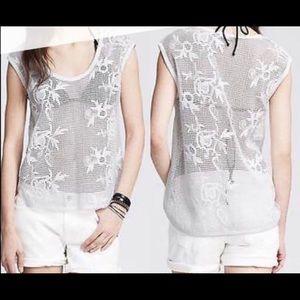 Banana Republic | Boho White Crochet Top | Size L